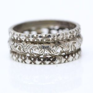 VINTAGE Sterling Silver Open Scroll Band Ring 8